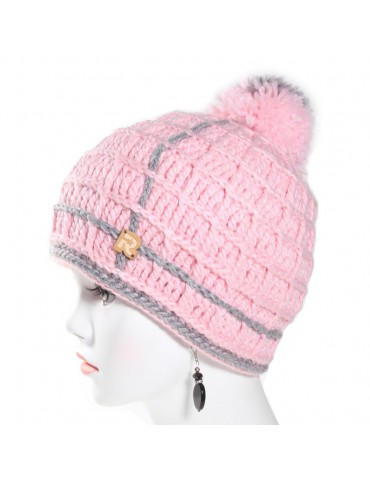 Bonnet laine bicolore rose...