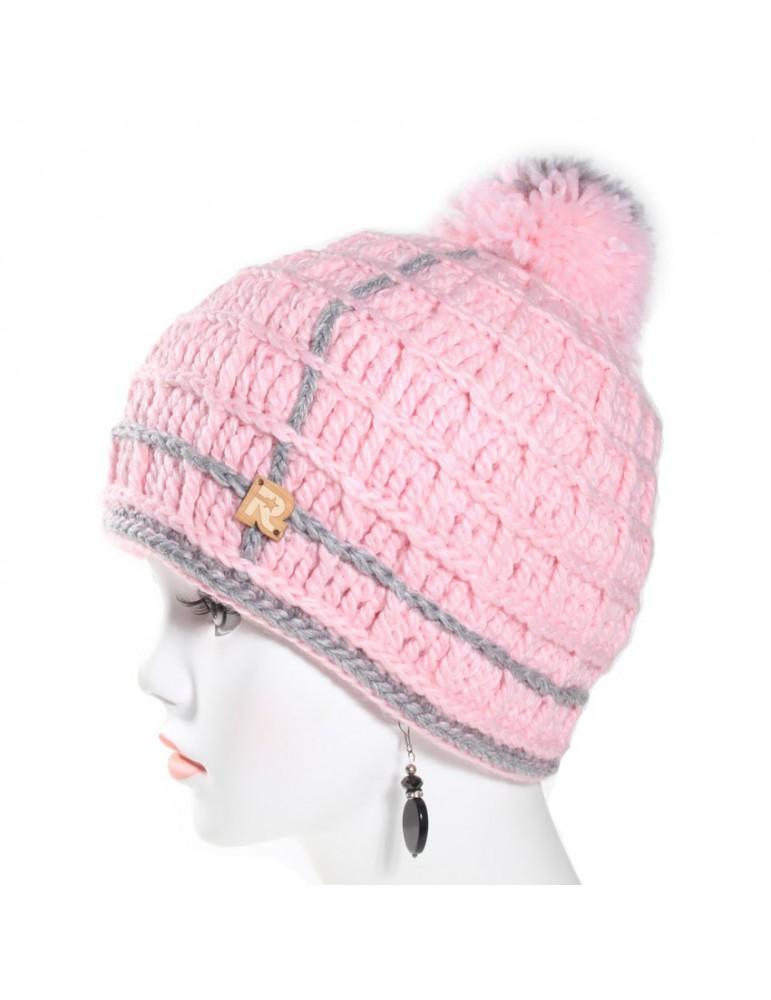 bonnet laine rose
