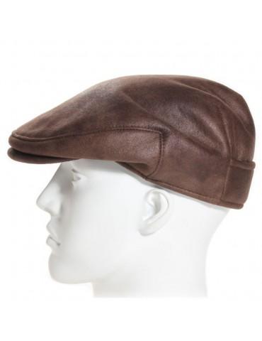 casquette imitation cuir marron