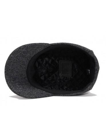 casquette laine et cuir grise