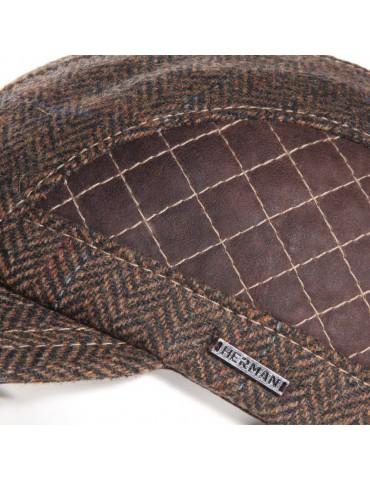 casquette laine et cuir marron