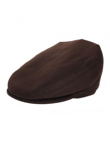 casquette plate en laine coloris marron