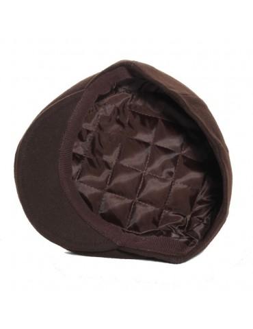 casquette plate en laine coloris marron doublée polyester
