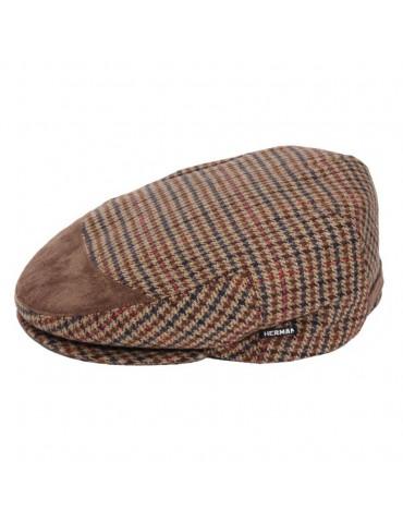 casquette pied de poule Herman avec cuir alcantara