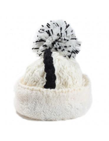 Bonnet laine pompon blanc...