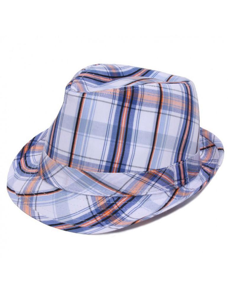 chapeau coton rayé bleu