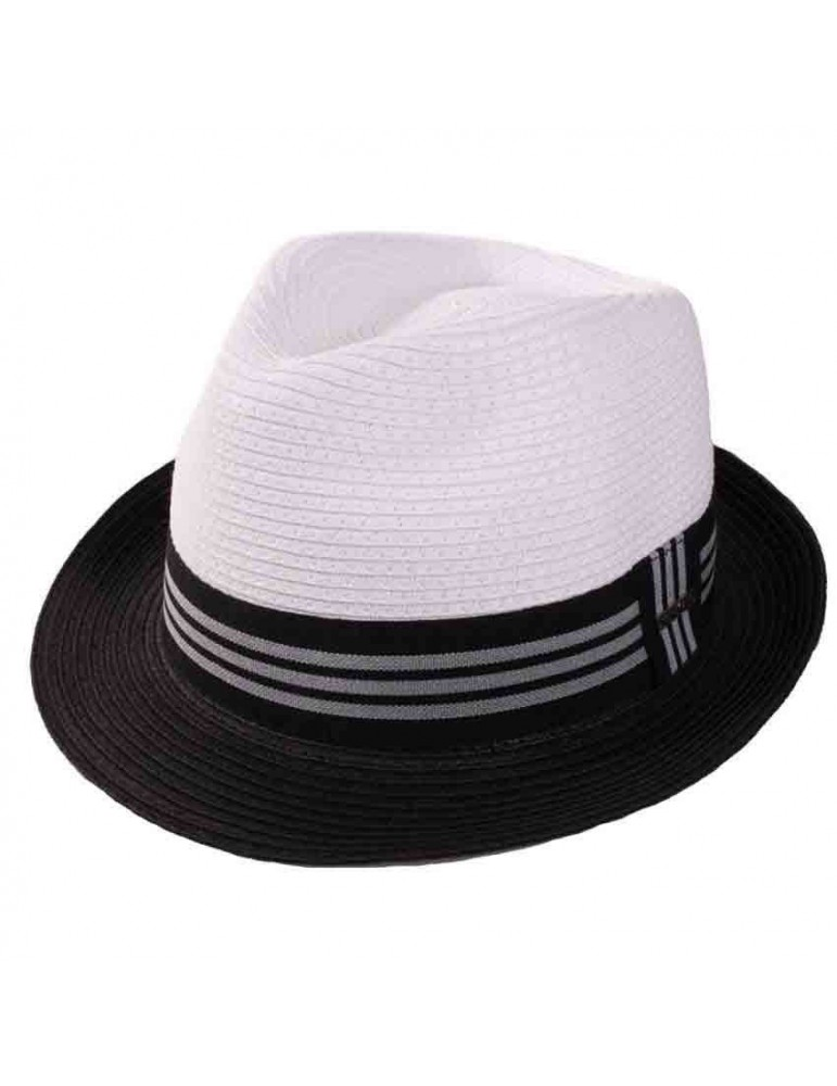 chapeau paille noir et blanc
