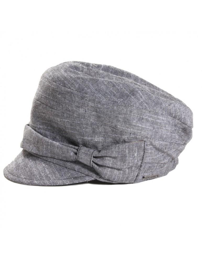 casquette femme en lin et coton gris