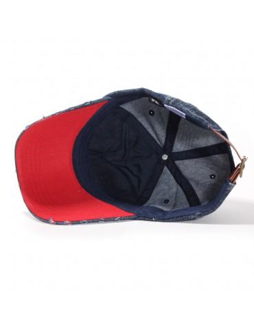 casquette baseball coton jeans et rouge