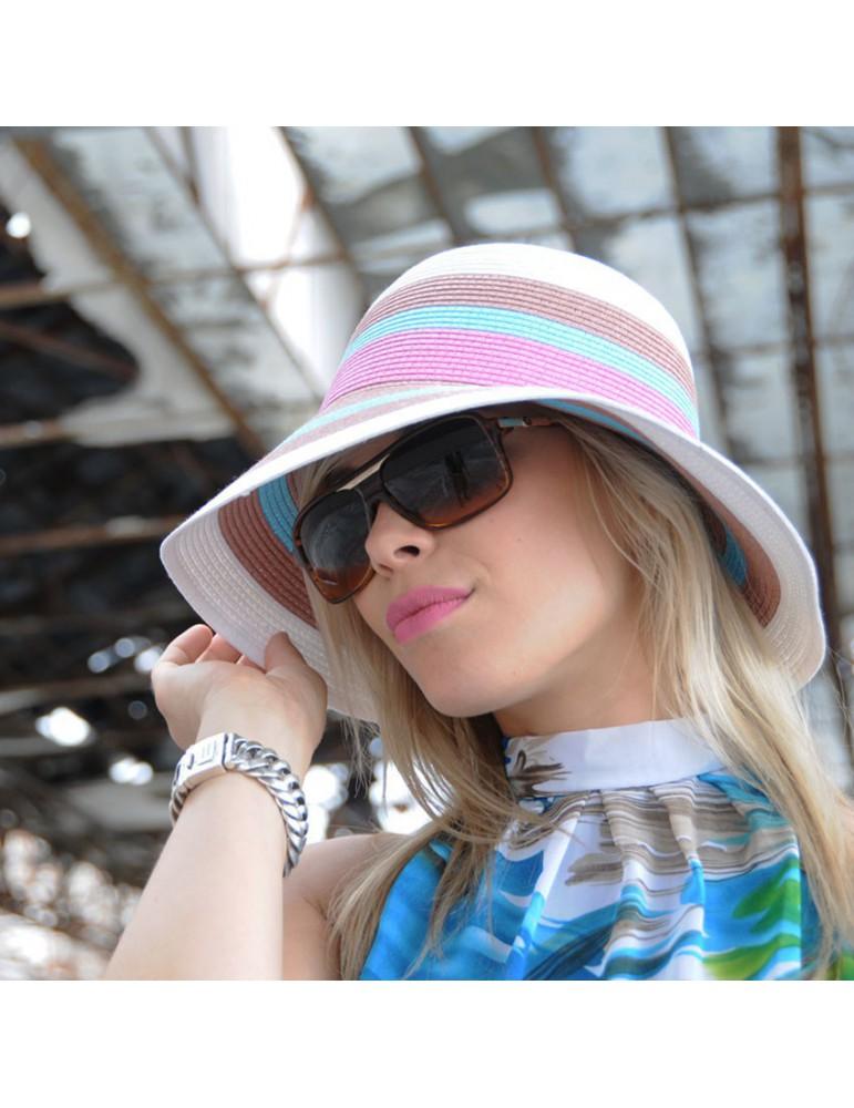 chapeau paille femme multicolore