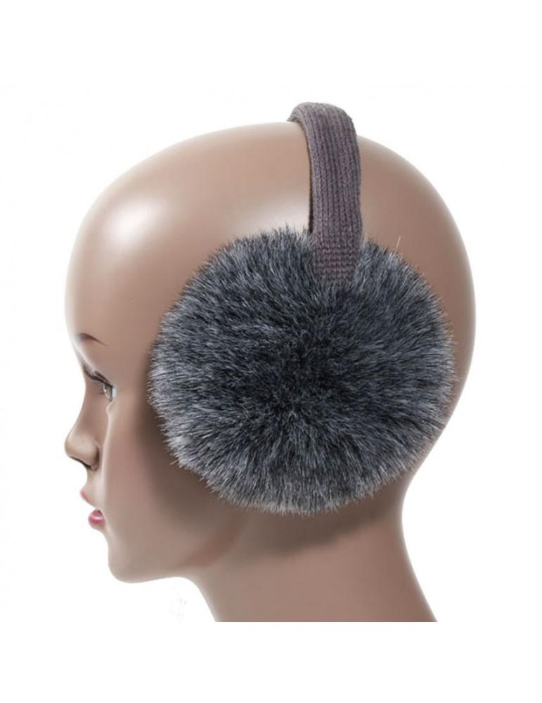Cache oreilles fausse fourrure gris anthracite