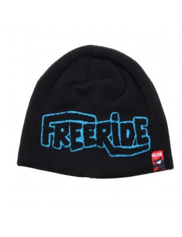 bonnet noir floqué Freeride bleu turquoise