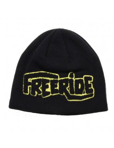 bonnet noir flocké freeride jaune