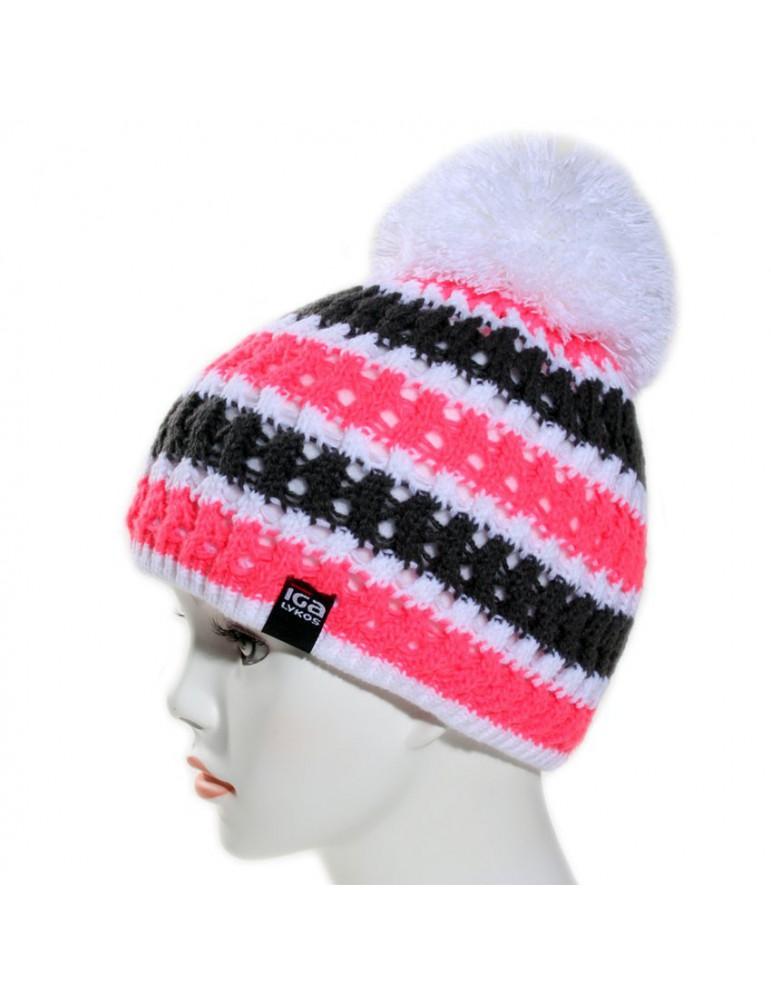 bonnet tricot rose fluo