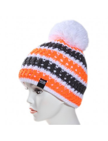 bonnet de ski orange pompon blanc