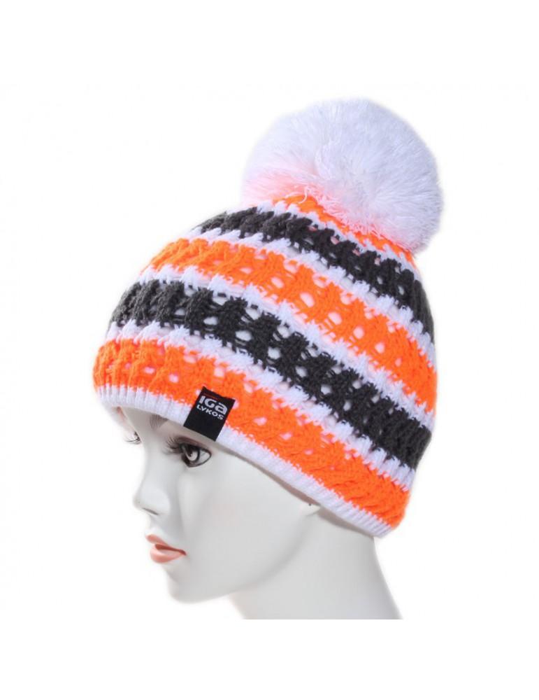 bonnet de ski orange pompon blanc