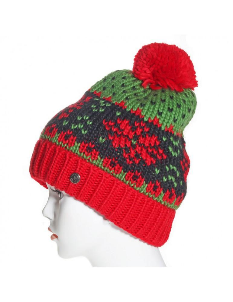 Bonnet laine pompon rouge