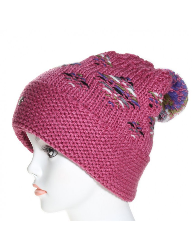 bonnet pompon coloris rose
