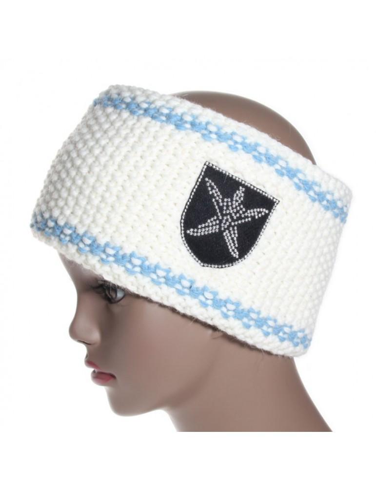 bandeau de ski blanc et bord bleu ciel