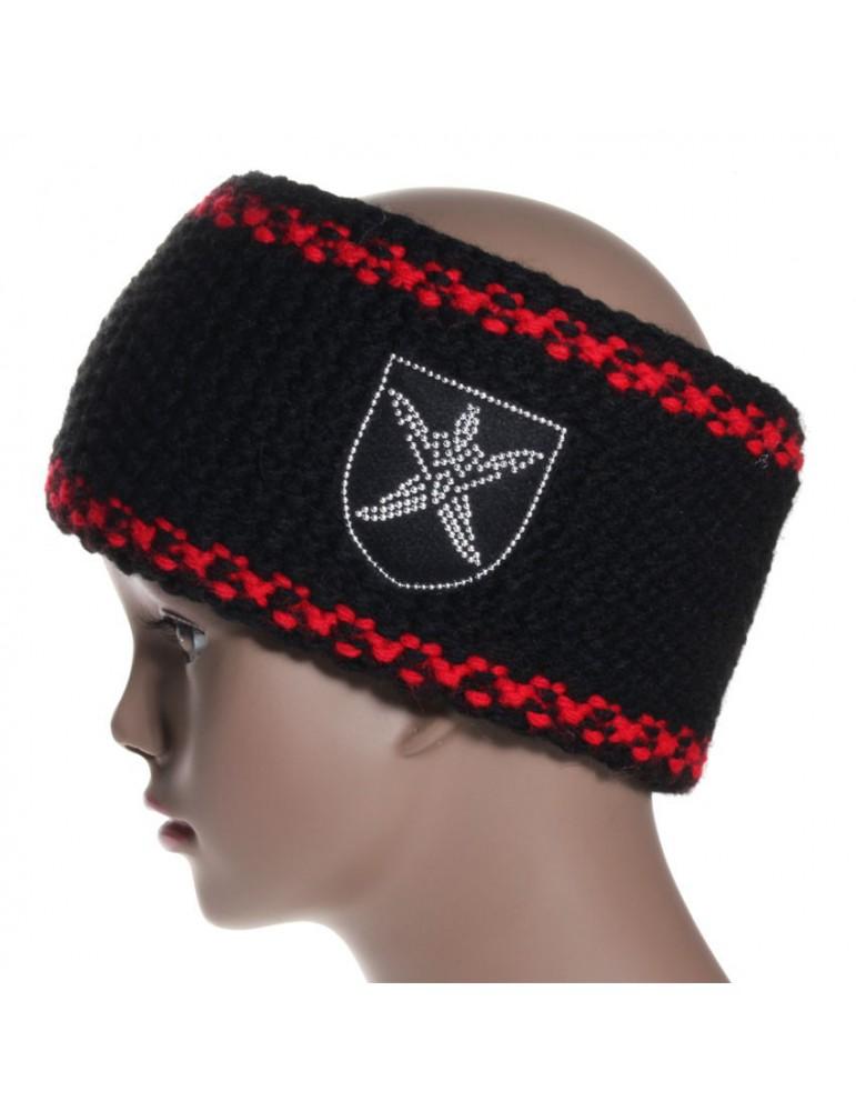 bandeau de ski noir et bord rouge
