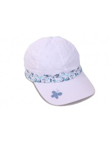 Casquette enfant blanche fleurs bleu