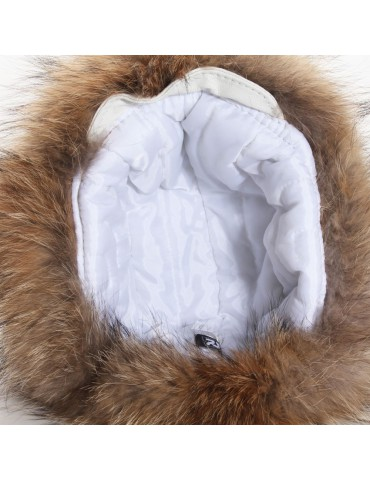 chapka cuir blanc et fourrure raton laveur doublée polyester