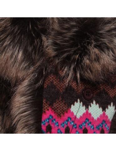 chapka tissu coloré et fausse fourrure