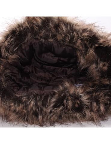 chapka tissu coloré et fausse fourrure doublée polyester