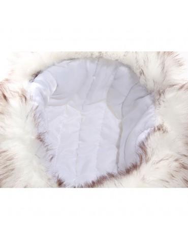 chapka synthétique blanche et fausse fourrure doublée polyester