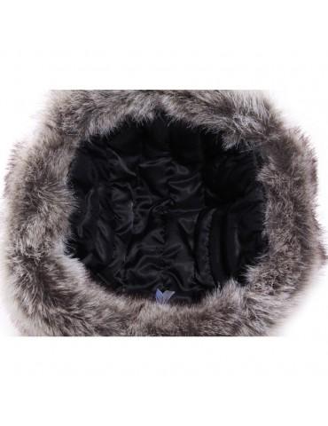 chapka synthétique noir et fausse fourrure doublée polyester