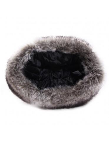 chapka grise argentée et fausse fourrure doublée polyester