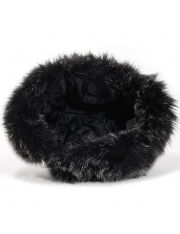chapka noir et fausse fourrure doublure polyester