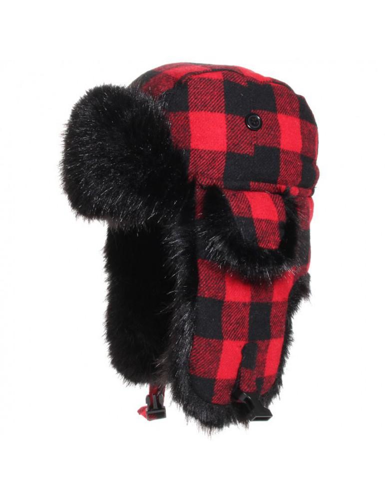 chapka canadienne rouge et noir pour enfant