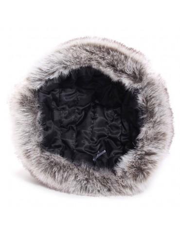 chapka synthétique grise et fausse fourrure doublure polyester