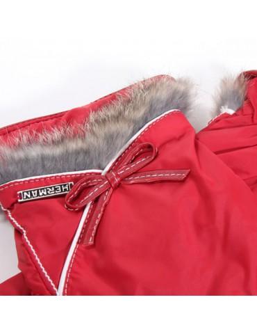 gant rouge et fourrure de lapin