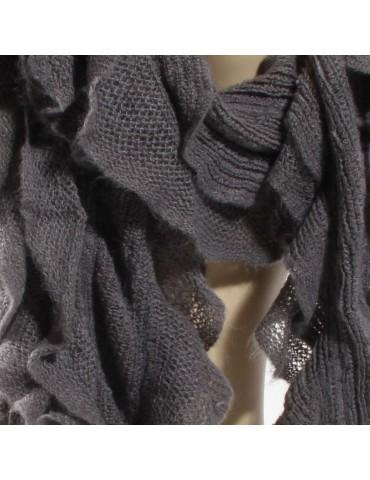 Echarpe tricot volant gris