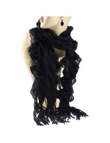 Echarpe tricot volant noir