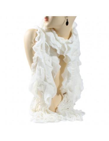 Echarpe tricot volant blanche