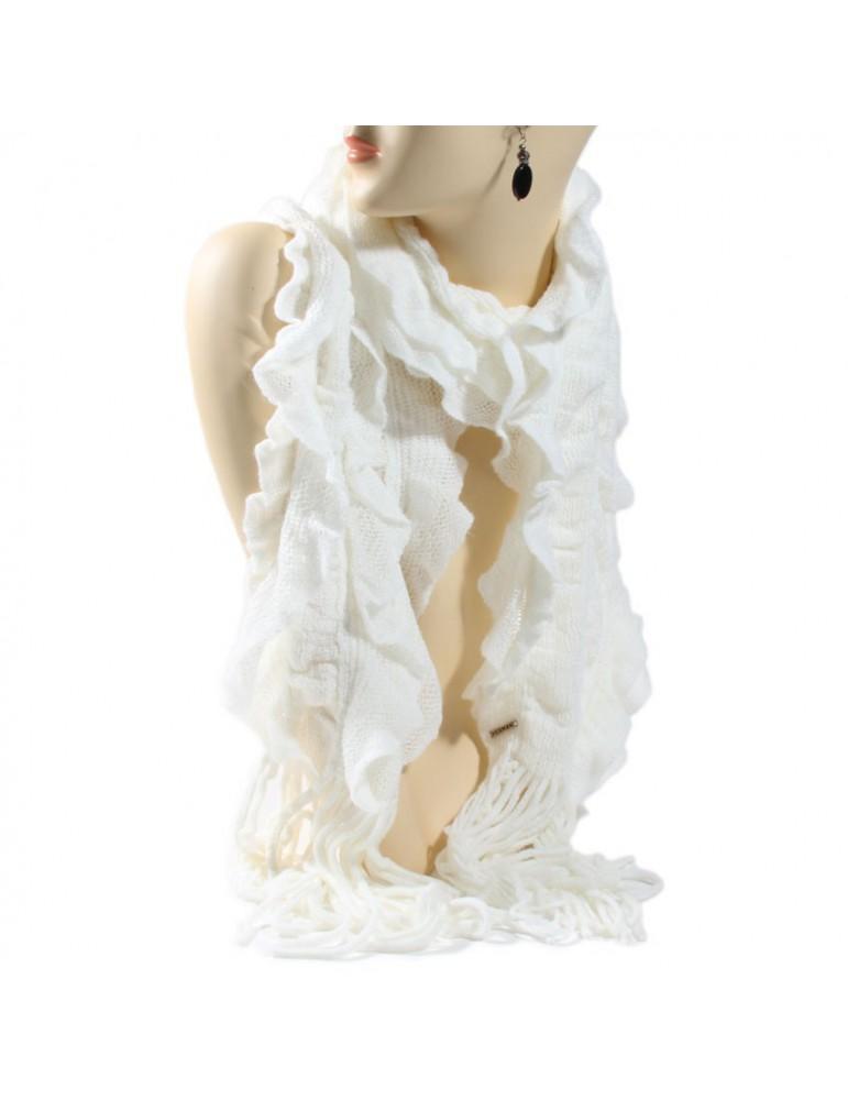 écharpe tricot blanche
