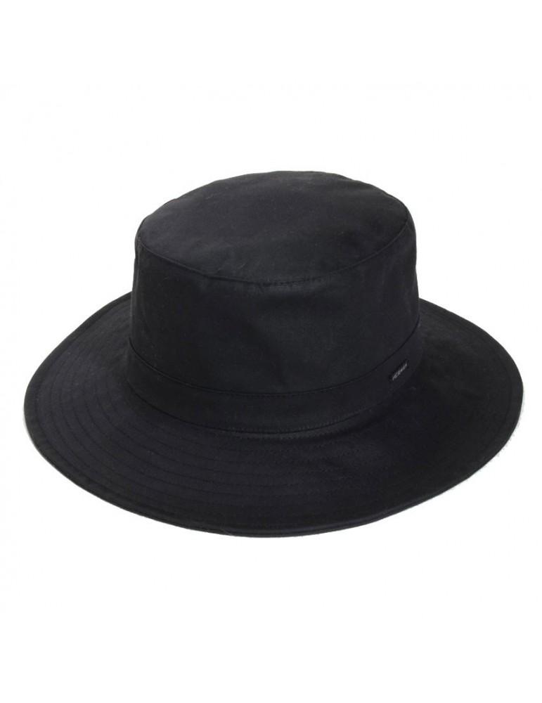 chapeau pluie coton huilé noir