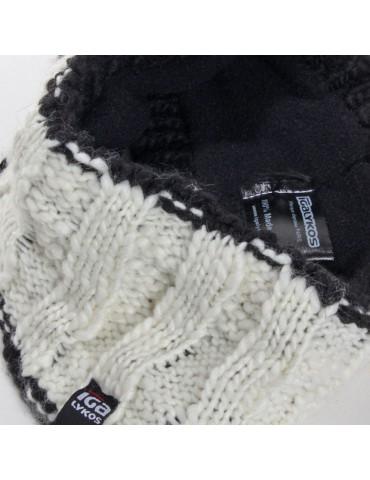 bandeau de ski laine tricot beige doublé polaire