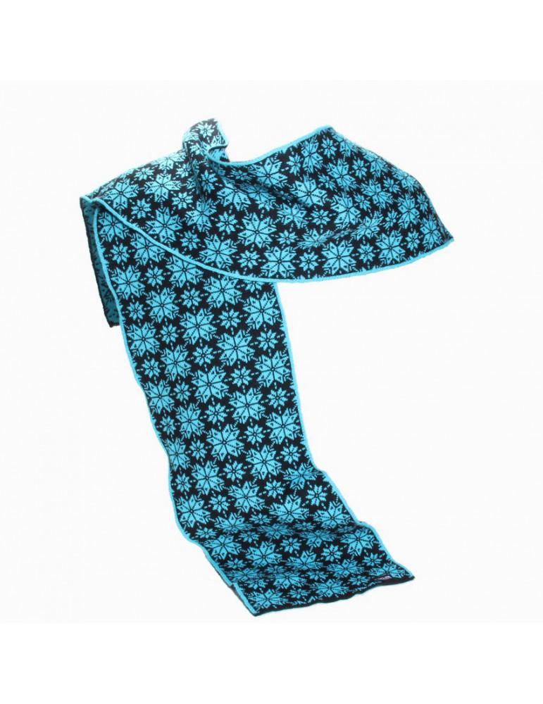 écharpe bleue imprimée