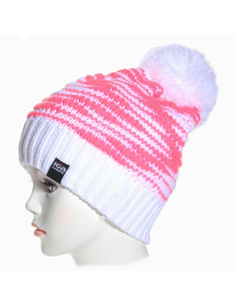 bonnet ski blanc et rose