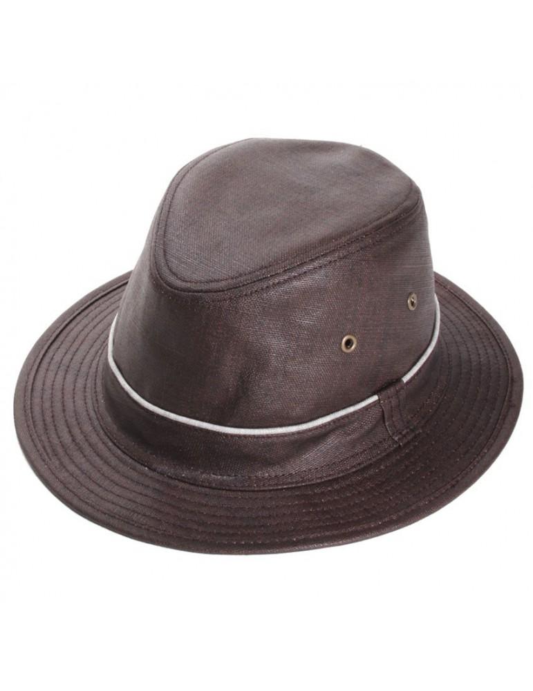 chapeau pluie lin marron