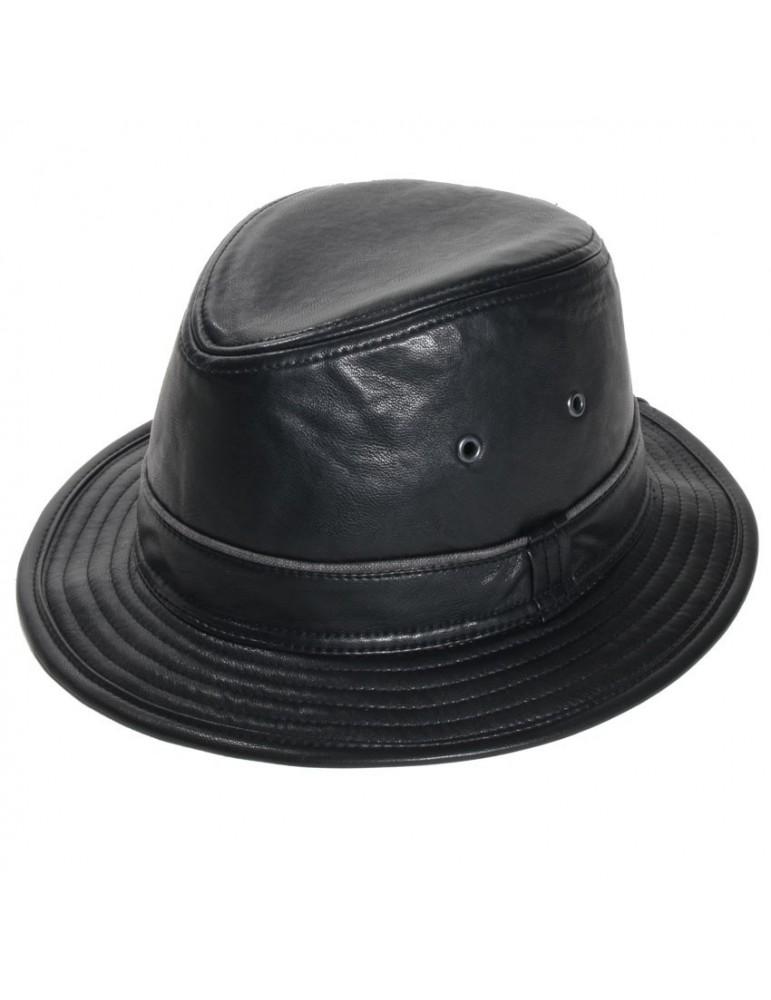 chapeau simili cuir noir