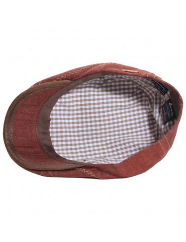 casquette plate en lin bordeaux surpiqué doublure coton