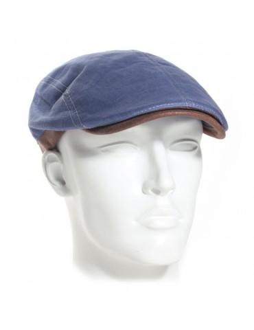 casquette plate en li bleu et visière gansée