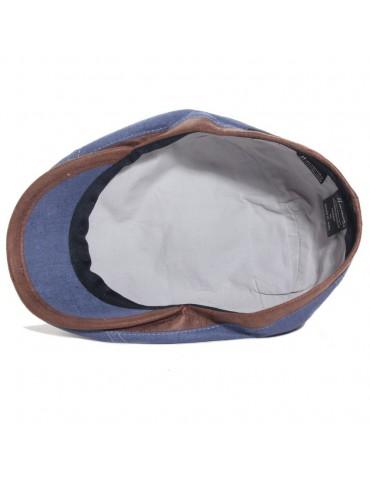 casquette plate en li bleu et visière gansée doublure coton