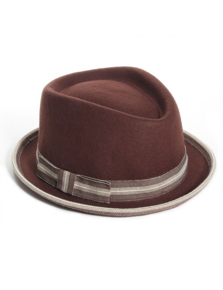 chapeau feutre pork pie coloris marron