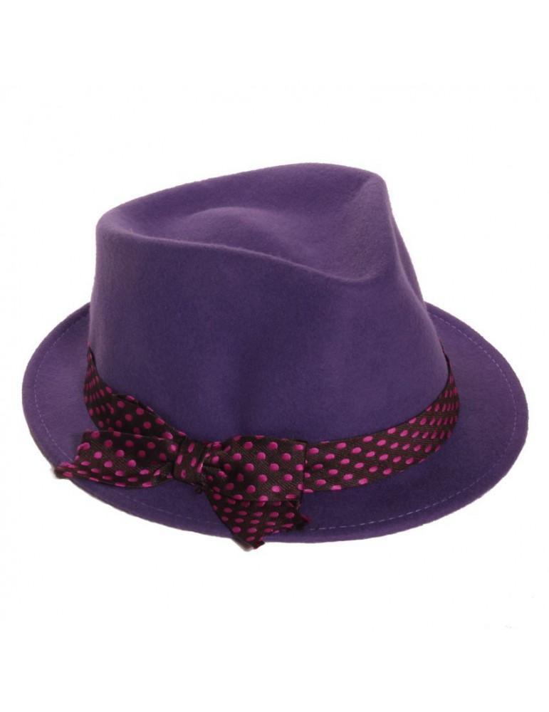 chapeau feutre femme coloris prune
